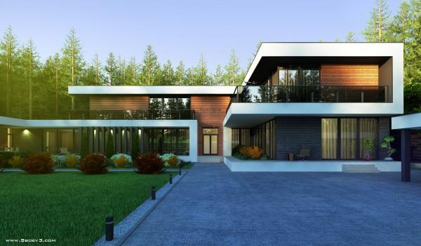Практичный двухэтажный дом в стиле модерн