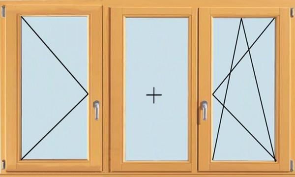 Трехстворчатое окно, поворотно-откидное, глухое, поворотное (от 1800х1200 мм)