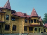 строительство современных деревянных домов, коттеджей, дачных домиков, бань, саун из оцилиндрованного бревна (срубы).