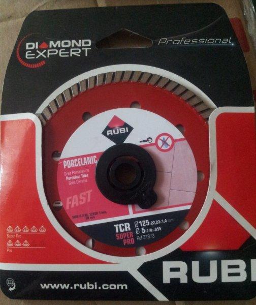 Фото  1 Алмазный круг Rubi на болгарку 125 мм для резки керамогранита, твердой керамики, греса Сплошной Турбо 52699