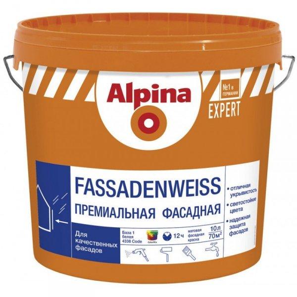 Фото  1 Alpina EXPERT FASSADENWEISS фасадная краска 1807270