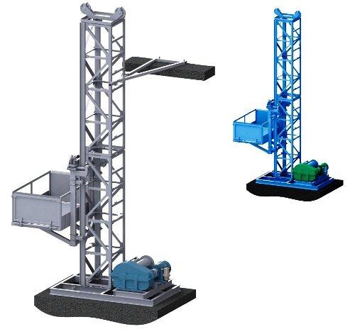 Фото  1 Н-77 м, г/п 2000 кг, 2 тонны. Мачтовый секционный подъёмник грузовой строительный для отделочных работ. 2020155