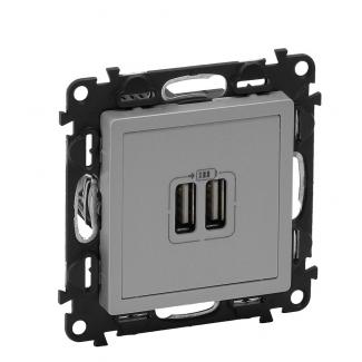 Фото  1 Зарядное устройство USB Legrand Valena LIFE 753612, алюминий 1922287