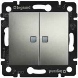 Фото  1 Переключатель 2-клавишный Legrand Valena Classic 770108, цвет алюминий 1919974