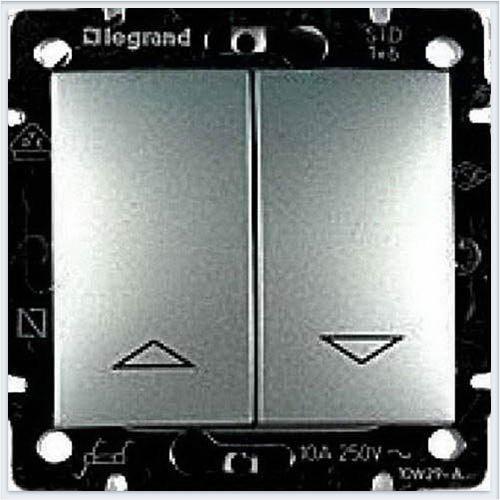 Фото  1 Выключатель управления жалюзи 2-клавишный , с электрон.блоком Legrand Valena Classic 770114, цвет алюминий 1919980