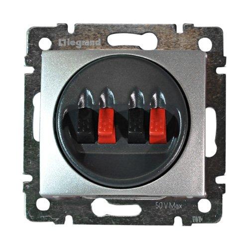 Фото  1 Розетка для аудиоколонок двойная 4 конт. Legrand Valena Classic 770124, цвет алюминий 1920003