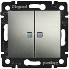 Фото  1 Выключатель 2-клавишный с подсветкой Legrand Valena Classic 770128, алюминий 1919975
