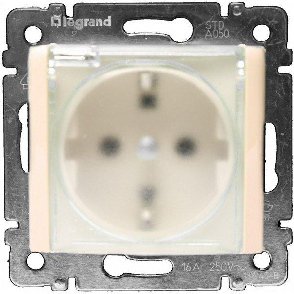 Фото  1 Розетка с з/к 2К+З, 16А IP44, с откидной крышкой и защитными шторками Legrand Valena Classic 774120, цвет слоновая кость 1919934