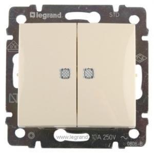 Фото  1 Выключатель 2-клавишный с подсветкой Legrand Valena Classic 774328, цвет слоновая кость 1919927