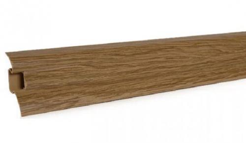 а 433 Плинтус с кабельканалом и резиновыми краями. Длинна планки 2.5м дуб обычный www. profil-plus. com. ua