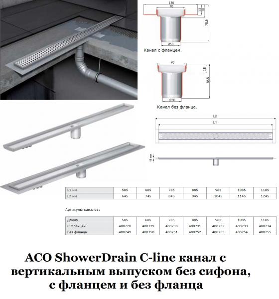 ACO ShowerDrain C-line без сифона