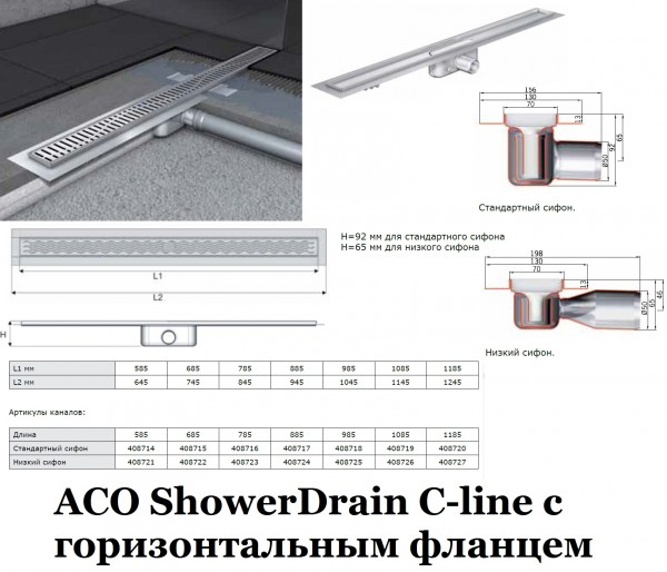 ACO ShowerDrain C-line с горизонтальным фланцем