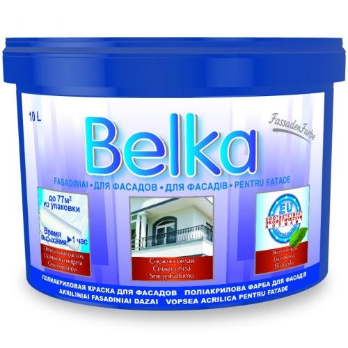 Акриловая краска ВД Belka (10л/12,6кг) белоснежная для фасадов (1литр-8-8,5м кв), красители, доставка
