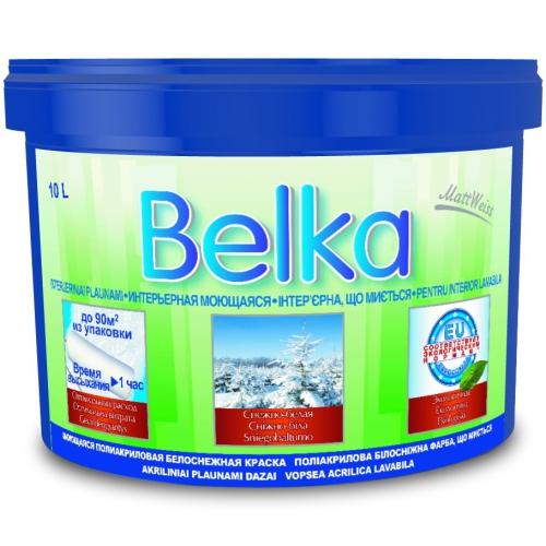 Акриловая краска ВД Belka (10л/12,6кг) белоснежная интерьерная моющая(1литр-8-8,5м кв), красители, доставка