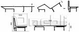 Акварель Аккордеон диван Микрофибра красная A32166