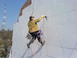 Альпинизм промышленный.Прорезка окон в стенах на любой высоте.Демонтаж/монтаж стен,водосливных труб и др.конструкций.