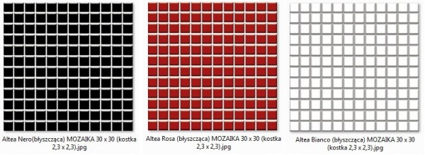 Altea Bianco, Nero, Rosa (byszczca) MOZAIKA 30 x 30 - pytki uniwersalne (kostka 2,3 x 2,3)
