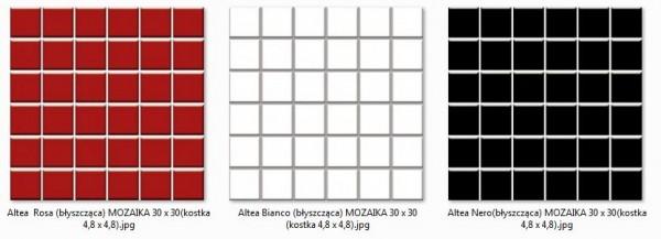 Altea Bianco, Nero, Rosa (byszczca) MOZAIKA 30 x 30 - pytki uniwersalne (kostka 4,8 x 4,8)
