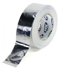 Алюминиевая лента скотч +120C, толщина фольги 40мкм, 50мм х 50м, (фольгированная лента)