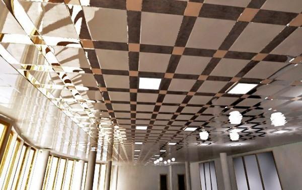 Алюминиевые потолки, VIP класс, скрытая система. Разный цвет и размеры панелей, доступ в запотолок