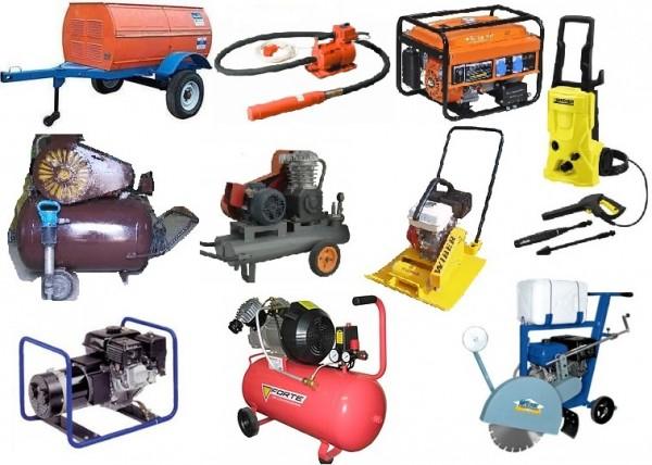 Аренда строительного оборудования Прокат компрессоров, виброплит, швонарезчиков, генераторов 2,4 кВа, вибраторов.