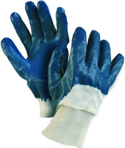 ARET, перчатка с полным/неполным двойным покрытием нитрилом синего цвета, подкладка джерси, трикотажный манжет