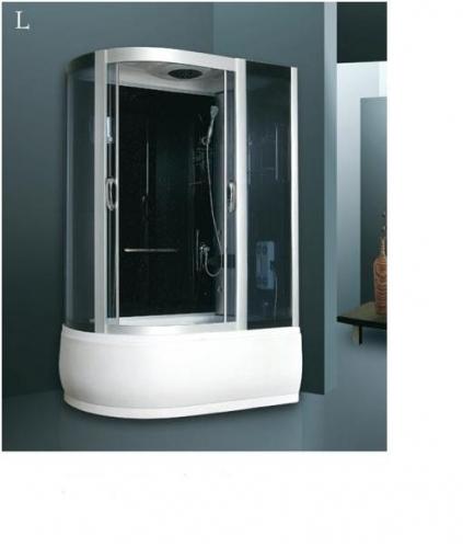 ATLANTIS A203 (L, R) Душевой бокс 85*150*210 Задние стенки: чёрные, двери: тонированое синее стекло
