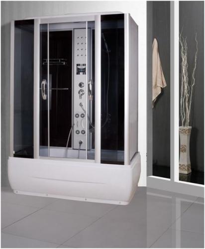ATLANTIS A204 Душевой бокс 82*150*210 Задние стенки: чёрные, двери: тонированое синее стекло