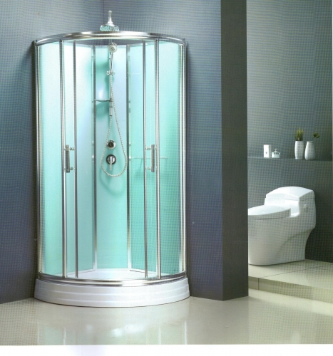 ATLANTIS A3045 Душевой бокс 100*100*218 Задние стенки: бирюзовые непрозрачные, двери: прозрачное или матовое стекло.
