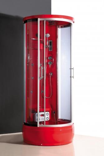 Atlantis AKL 1311 (90*90*218) Акрил - красный, двери - прозрачное стекло. Высота поддона - 31 см.