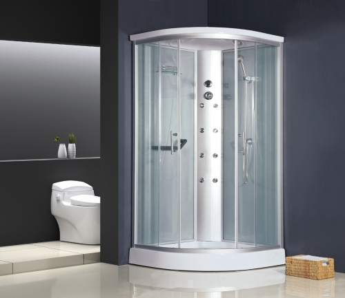 ATLANTIS AKL 1328 (100*100*215)Задние стенки: серебристые, непрозрачные. Двери: матовое стекло.