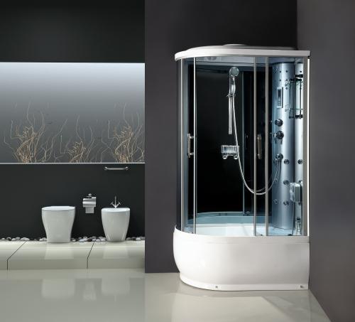 ATLANTIS AKL 2204 В Душевой бокс 103*103*218 Задние стенки: синее зеркальное стекло, двери: тонированое синее стекло