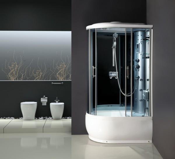 ATLANTIS AKL 2205 B (L, R) 80*120*218 Задние стенки: синее зеркальное стекло, двери: тонированое синее стекло