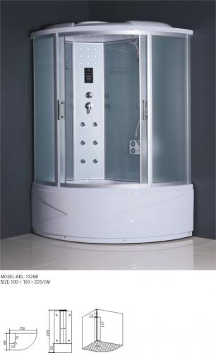 ATLANTIS ALK 1326В (L, R) 100*150*220 Задние стенки: белое матовое непрозрачное стекло, двери: матовое стекло