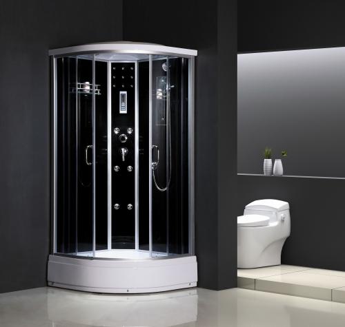 ATLANTIS ALK 60Р-T 90*90*215 Задние стенки:черное или серебристое непрозрачное стекло. Двери:тонированное синее стекло.