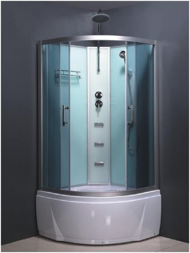 ATLANTIS L-501-A Душевой бокс (90*90*218) Задние стенки: синее зеркальное стекло. Двери: тонированное синее стекло.