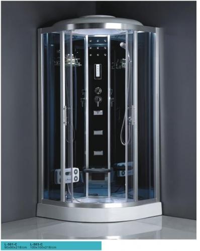 ATLANTIS L-503-C Душевой бокс 100*100*218 Задние стенки: синее зеркальное стекло. Двери: тонированное синее стекло.