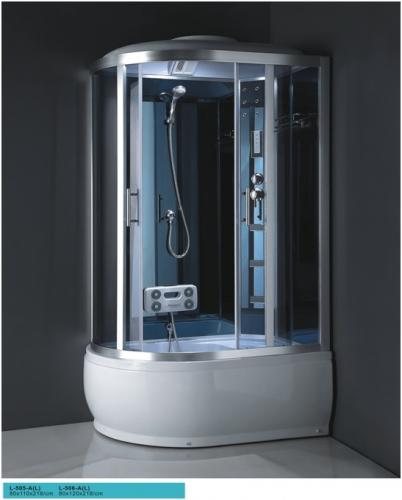ATLANTIS L-506-A Душевой бокс (120*80*218) Задние стенки: серебристое непрозрачное стекло. Двери: матовое стекло.