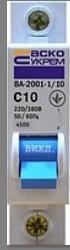 Автоматический выкл. УкрЕМ ВА-2001 1р 10А-16-20-25А