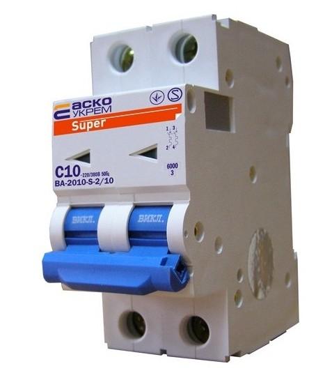 Автоматический выкл. ВА-2010-S 2р 6А/ 10А/ 16А /20А/ 25А /32А/ 40А/ 50А /63А (АсКо)