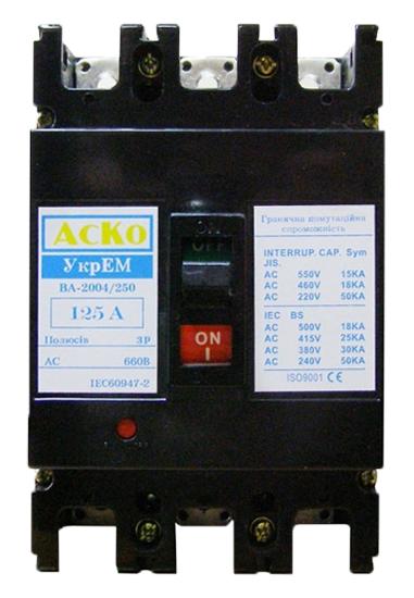 Автоматический выключатель трехполюсный ВА-2004/250-3/150А