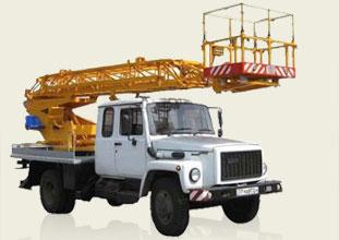 Автовышка ГАЗ 3309, высота подъема: 18 м (± 0,5 м), грузоподьемность люльки: не более 250 кг