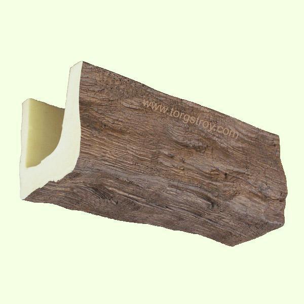 Балка полиуретановая T21 (17х21)см, длина 3 м. Фактура - рустик (состаренное дерево). Цвет темный.