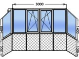 Фото  1 Балкон Французский ( от пола до потолка ) 1-к стеклопакет WINDOM 1804463