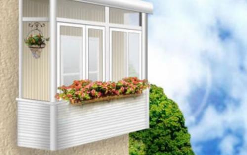 Балкон из алюминиевого и металлопластикового профиля. Вынос.