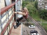 Монтаж обшивки балкона из профнастила с веревок. Только работа. Киев