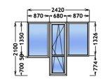 Фото  1 Балконний блок Чебурашка / 2 вікна + балконні двері 1-к склопакет WINDOM 1803687
