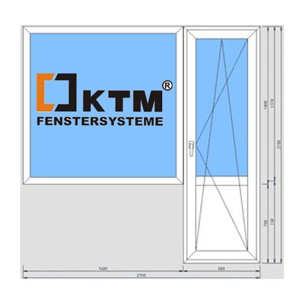 Балконный блок KTM Terma 700*2100, 1300*1400 подоконник 25 см, монтаж, демонтаж