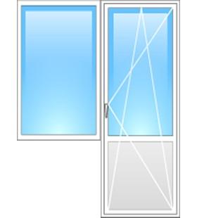Балконный блок REHAU: дверь поворотно-откидная 700*2000мм, окно глухое 1000*1400мм, фурнитура Maco (Австрия)
