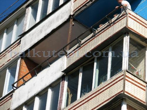 Балконный вынос конструкцияпод ошва(без рамы и козырька) с материалом